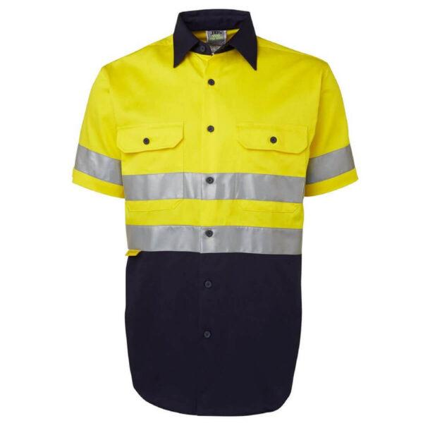 6HSS Hivis Short Sleeve Cotton Drill Shirt, 3m Tape