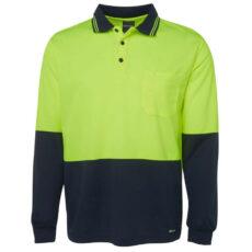 6HVPL HiVis Long Sleeve Polo Shirt