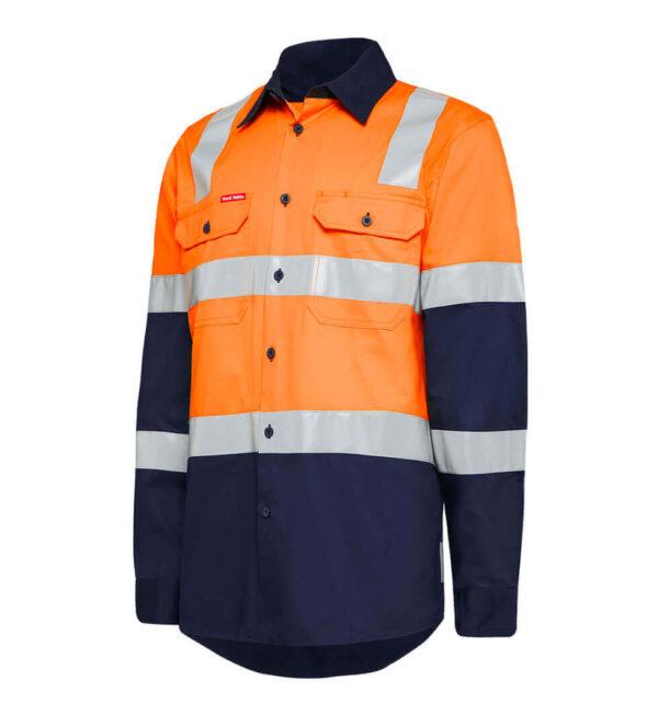 Hard Yakka HiVis X-Back (D+N) L/S Cotton Shirt