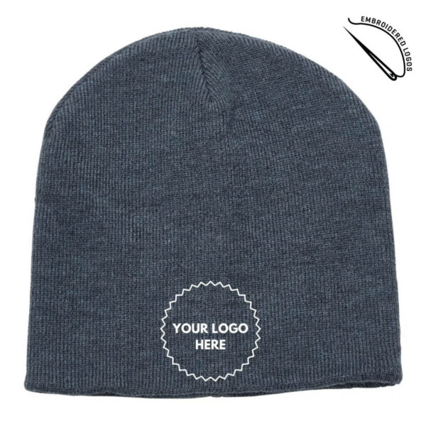 Heather Skull Beanie with Embroidered Front Logo