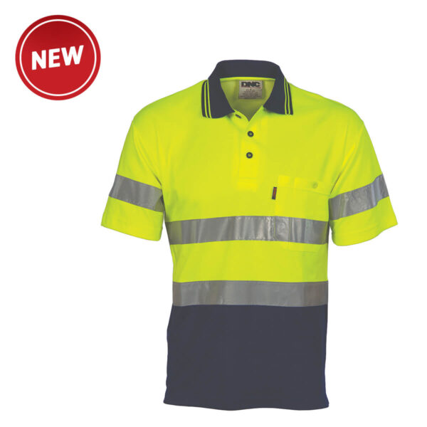 HiVis Cotton Back (D+N) Short Sleeve Polo