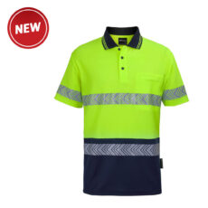 Hivis S/S Cotton Back Segmented Tape (D+N) Polo
